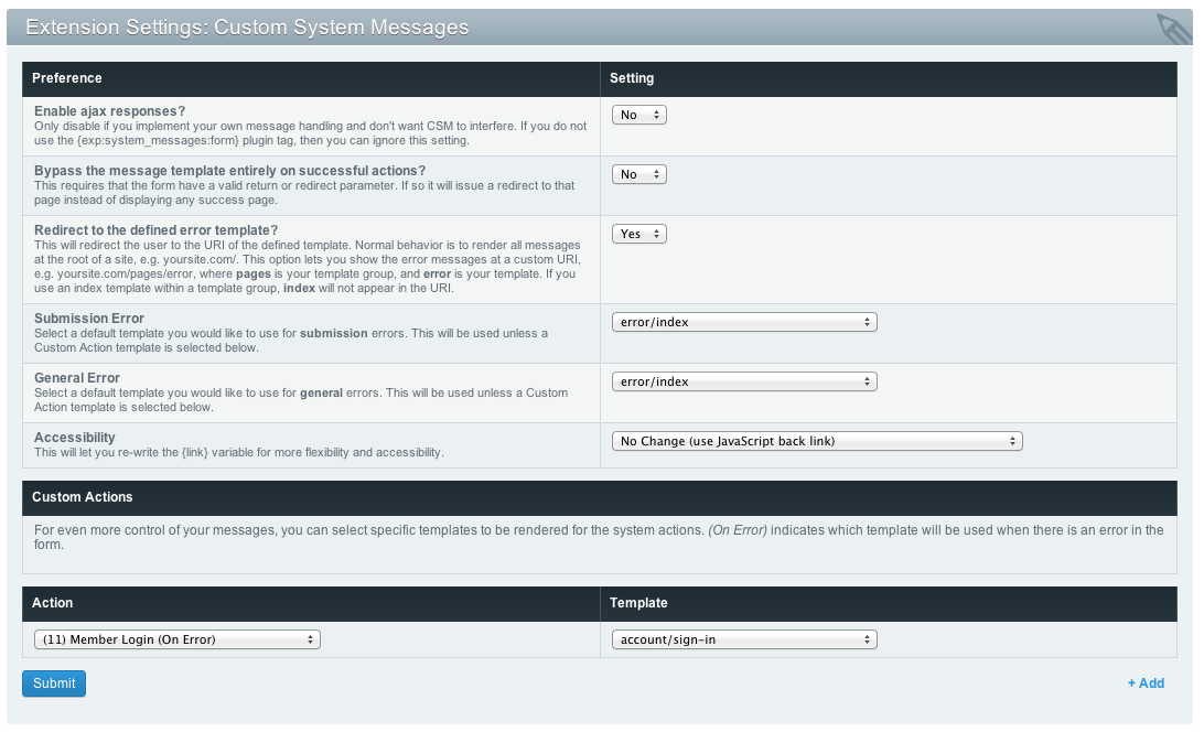 Custom System Messages Settings screenshot